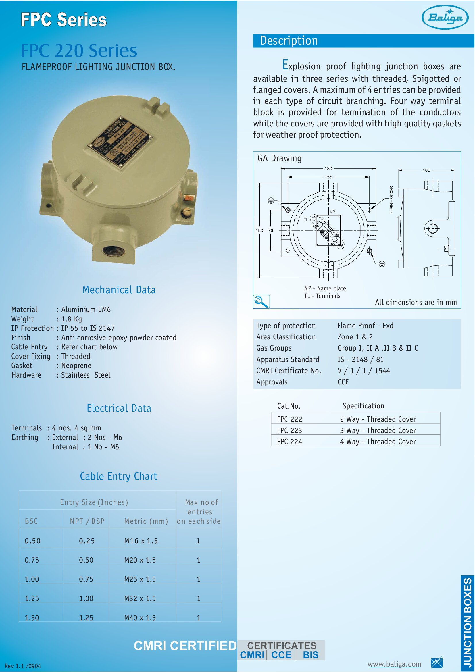 Flameproof Lighting Junction Box FPC 220 Series