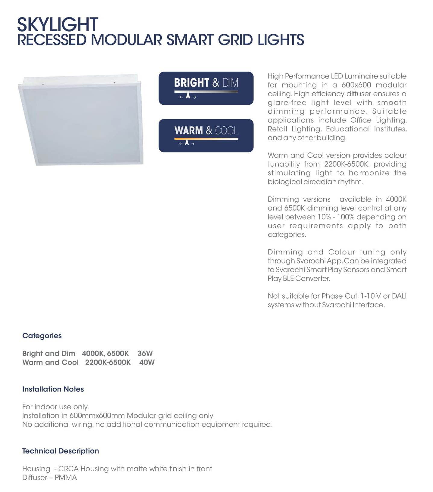 Skylight Recessed Modular Smart Grid Light