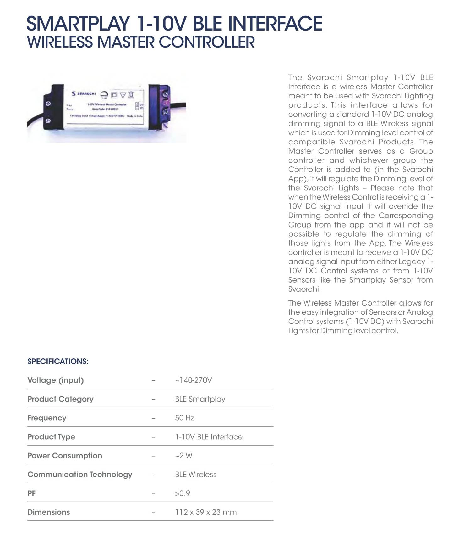 Smartplay 1-10V BLE Interface Wireless Master Controller
