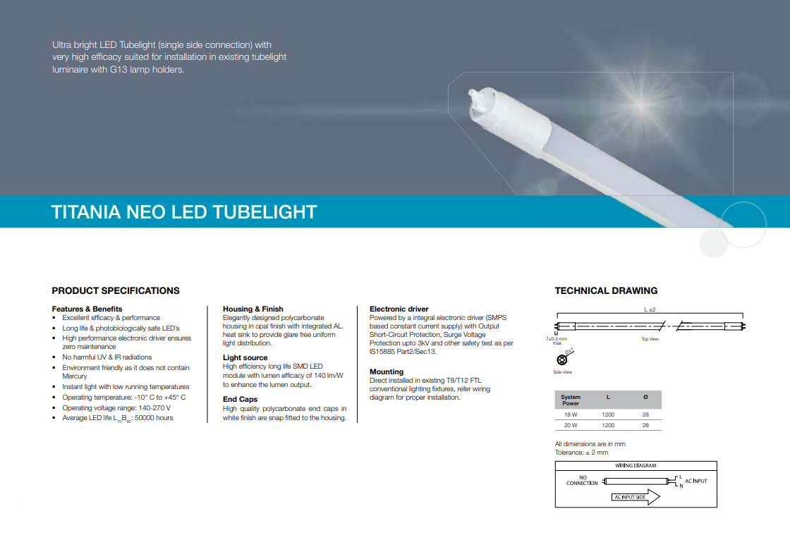 Titania Neo LED Tubelight